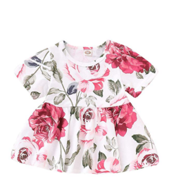 Girls Clothes Outfits, Cute Baby Girl Floral Long Sleeve Pant Set Flower Ruffle Top Short sleeve + jeans 80cm