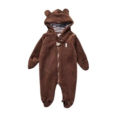 Infant Winter Snowsuit Baby Bear Romper Outfit Fleece Bunting Pram Suit Outerwear Coat Jumpsuit white 3M