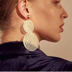 Double Geometric Round Circel Earrings Simple Elegant Hoop Women Earrings Geometric Ear Hoop Jewelry gold one size