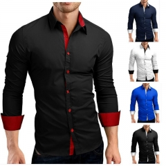 Classic model style men's Spring large size long sleeve leisure shirt  free Slim Fit shirt dresses Black with red M