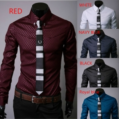 Men's Fashion Spring New Shirts Dark Twill Long Sleeve slim fit casual leisure Shirt dress for man red m