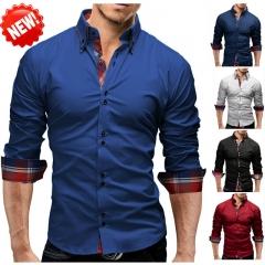 Men Shirt 2018 Spring New Brand Business Men'S Slim Fit Dress Shirt Male Long Sleeves Casual Shirt Royal blue m
