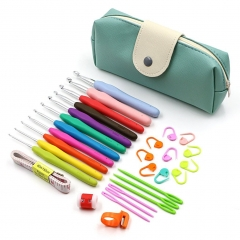 31 Pcs/Set Crochet Hooks Storage Bag Weave Craft Sewing Needles Sweater Knitting Tools Accessories
