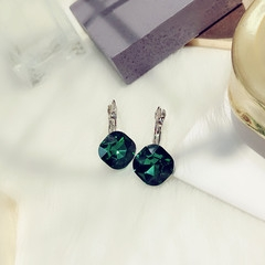 Geometric color crystal earrings for women Wedding Jewelry sweet and fresh wild personality female green 2.5cmx1.1cm