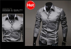 Jeansian Mens hot Fashion Dress Casual Shirt Slim Business Uniform Summer long sleeved slim shirt gray L
