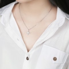 925 Sterling silver necklaces and pendants for women simple Japanese and Korean Silvery accessories silver as picture shows