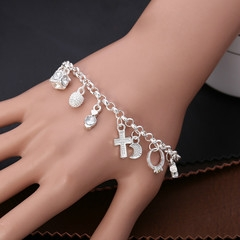 Plated 925 Sterling Silver Bracelets Europe and America 13Hanging ornament wedding Jewelry for women silver About 21CM