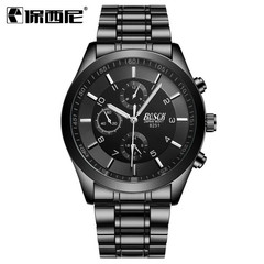 Steel belt sports luminous waterproof watch men three-eyed imitation six-pin black watches student black