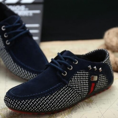 Men Loafer Shoes Fashion Suede Flat Loafers Casual Driving Shoes Men Flats blue 39
