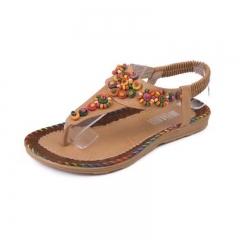 New Fashion Women Shoes Sandals Summer Flip Flops Bohemia Flat Sandals Female Beaded Shoes brown 36