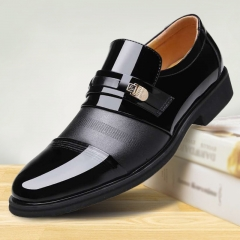 Men Formal Shoes slip on Pointed Toe Patent Leather Oxford Shoes For Men Business Dress Shoes black 38