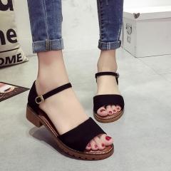 Summer Women Sandals Retro Pu Suede Sandal High Heels Square Heel Shoes Woman Buckle Shoe black 35