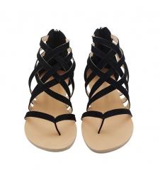 Women Shoes Gladiator Sandals Female Flat Rome Shoes Cross Tied Sandals Ladies Shoes black 35