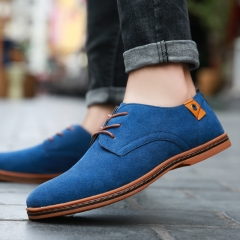 Men's Casual Shoes New Flat Man Shoes With Men's Suede Oxford Shoes Bussiness Leather Shoes blue 39
