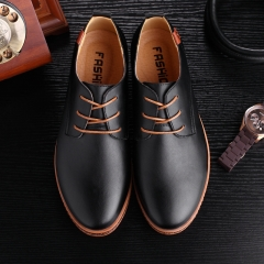 Men Leather Shoes Fashion Flats Round Toe Comfortable Office Men Dress Shoes Oxfords Formal Shoes black 38