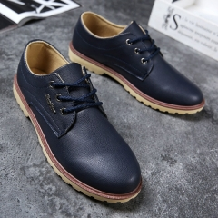 Man Casual Shoes Spring Autumn Lace-up Style Pu Leather Flats Fashion Trend Round Toe Men Work Shoe blue 39