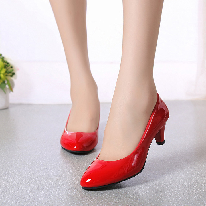 8b1da12af693a Women Shoes Artificial Leather Shoes Women Office Work Heels Shoes Elegant  Ladies Low Heel Shoes red 35