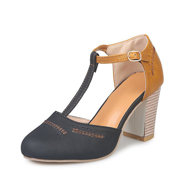 508b37922bf Summer Women Pumps High Heels Shoes Ladies Round Toe T-tied Square Heel  Shoes black 35