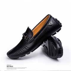 Leather Boat Shoes Mens Top Sider Driving Shoes British Style Handmade Fashion Casual Flats Gorgeous blue 38