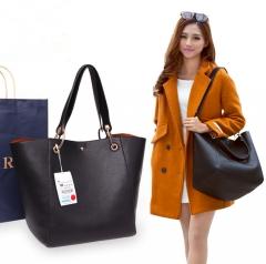 2018 new retro ladies bucket handbag fashion Kit One large and one small Portable Shoulder Tote Bag black 22L