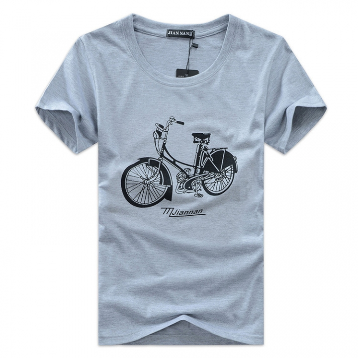 Men's Xxxxxl Pattern And Bicycle Cotton Sleeved Fashion Comfortable Gray Short Trend H9IeYEWD2