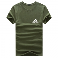 Fashion brand summer men's T-shirt round neck cotton men's short-sleeved T-shirt casual green xxxxxl