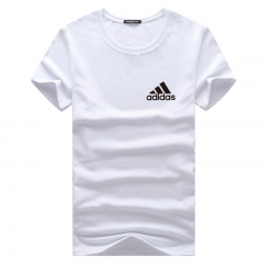 Fashion brand summer men's T-shirt round neck cotton men's short-sleeved T-shirt casual white s