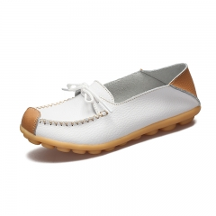 Plus size comfortable leather, flat bottomed women's shoes, bean shoes white 35