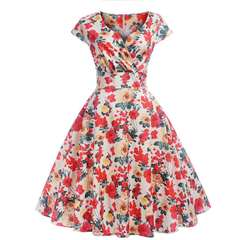 Retro Hebborn style in Europe and the United States waist dress flower s