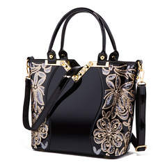 Madini's new 2019 European and American fashion embroidered bright leather lady bag black one size