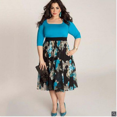 Womens dresses new print one-neck large size dress picture l