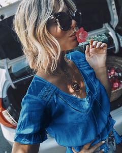 Women's tops, summer new women's lace shirt V-neck tassel waist short crop top blue m