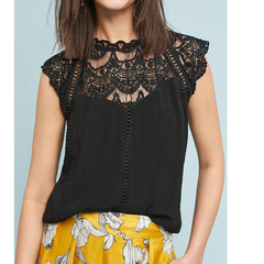 2019 European and American women's new, sexy lace sleeves hollow collar stitching chiffon shirt black m