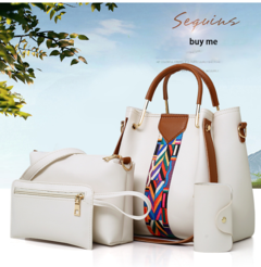 Bag female 2019 new fashion multi-piece women's bag, shoulder bag three-piece pearl white one size