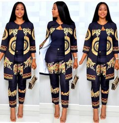 Women's Atmosphere Fashion Digital Print Sleeve Jacket + Pants Set black XL