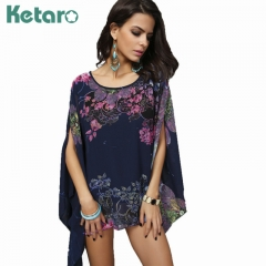 Ladies tops and blouses casual stylish plus size chiffon floral shirt for women blue purple average size