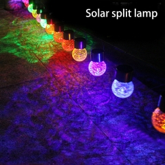 New solar glass crack ball outdoor colorful landscape lights LED hanging lights lawn garden lights