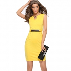 Metal buckle small V-neck bottoming skirt Slim temperament pencil skirt Large size dress yellow s