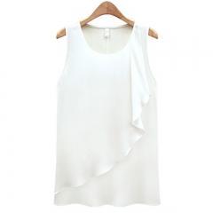New temperament loose round neck chiffon shirt ruffled sleeveless bottoming shirt camisole female white s