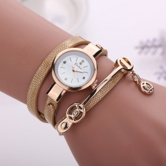Fashion Ring Ladies Watch PU Ribbon Watch Ladies Bracelet Watch gold