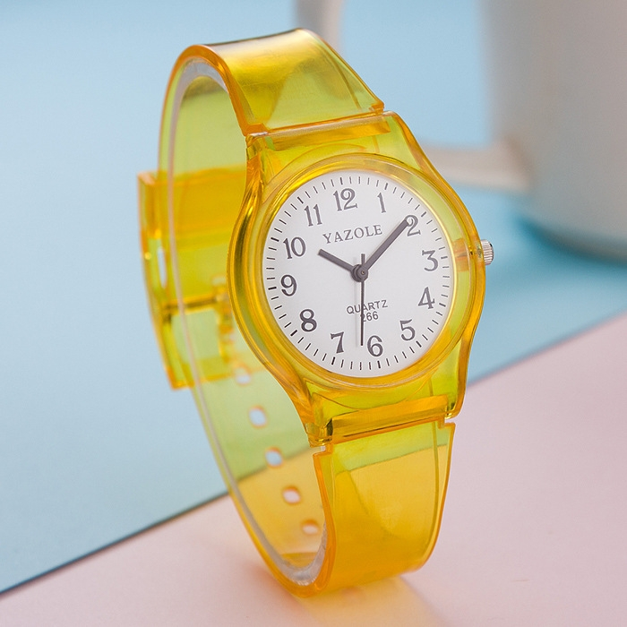Quality goods 266 quartz watch transparent fashion student table boy girl child watch kid watch yellow One size
