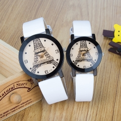 Round Paris Tower Couple Table European and American Trends Men and Women Student Watch White (male)