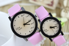 English fashion new watch female student couple watch children table Pink(male style)