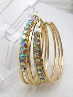 Rhinestone Alloy Metal Circle Hoop Earrings