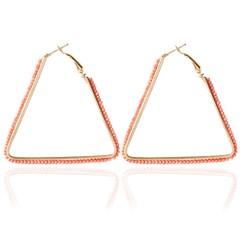Bohemia Triangle Bead Hollow Hoop Earrings for Lady