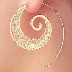 Feather Shape Hooked Earrings