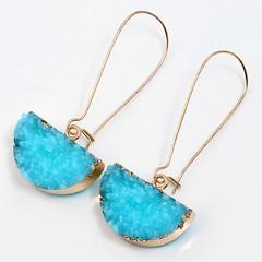 Half Circle Natural Stone Drop Earrings