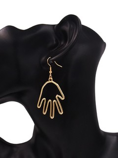 Hollow Out Palm Shape Hook Earrings