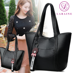 New Fashion PU Leather Seiko Making Large Capacity Women's Bag black 25cm by 10cm by 27cm