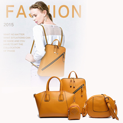 LARAINE 4Pcs/Set High-quality Backpacks for Ladies PU Leather yellow one size 30cm one size normal